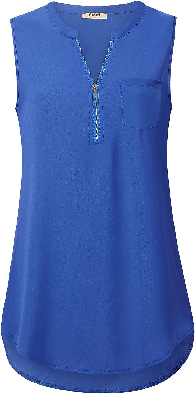Timeson Women's Casual V Neck Sleeveless Tunics Blouses Chiffon Zipper Tank Tops