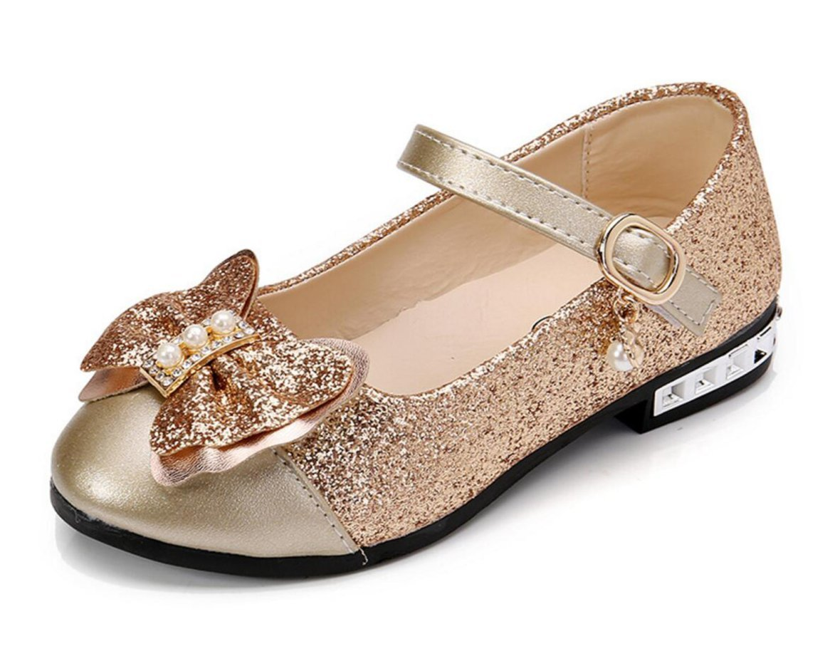 Otamise Girls Mary Jane Wedding Party Shoes Glitter Bridesmaids Low Heels Princess Dress Shoes Gold US 4M