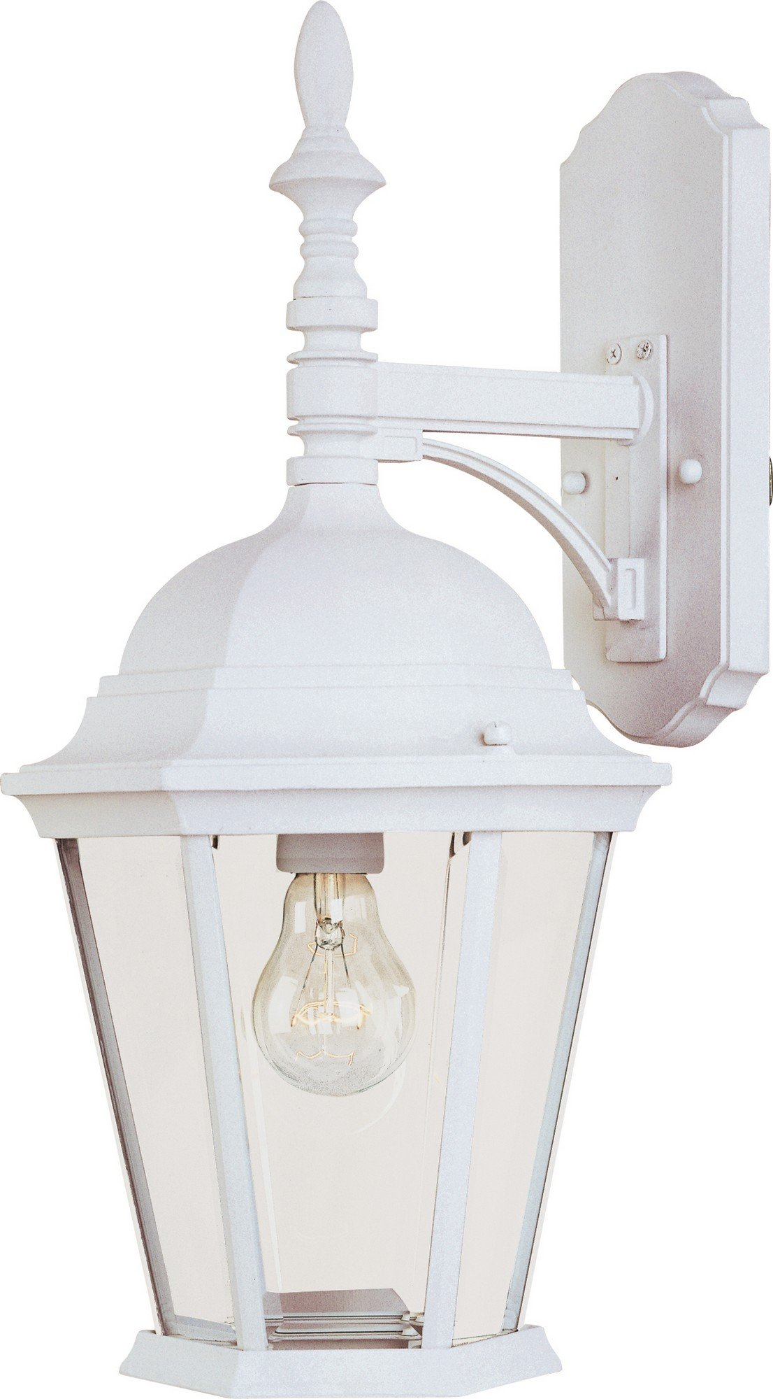Maxim 1004WT Westlake Cast 1-Light Outdoor Wall Lantern, White Finish, Clear Glass, MB Incandescent Incandescent Bulb , 60W Max., Dry Safety Rating, Standard Dimmable, Glass Shade Material, Rated Lumens