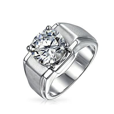 Bling Jewelry Mens 6 ct CZ Round Solitaire Engagement Ring Rhodium