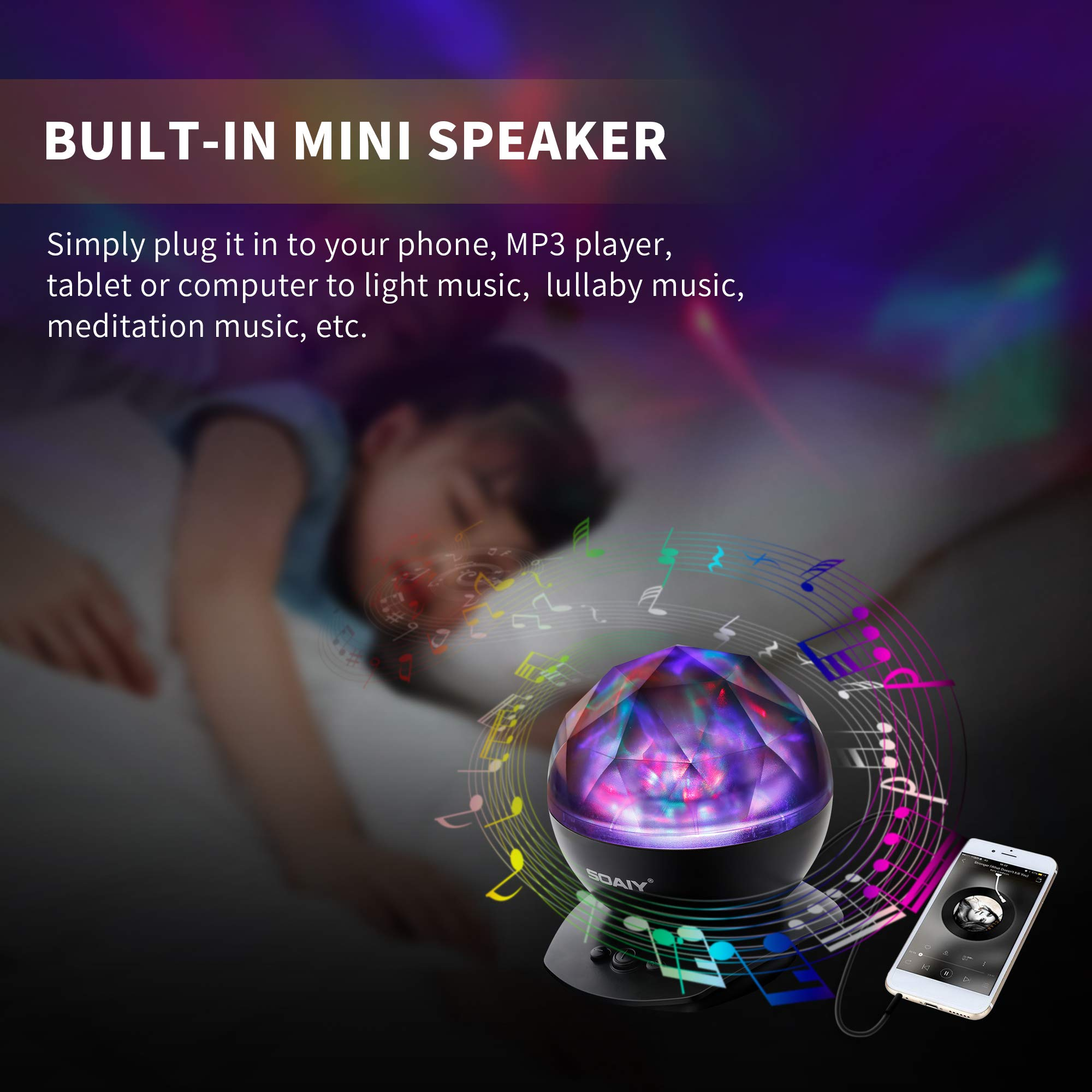 [Upgraded Version] SOAIY Soothing Aurora LED Night Light Projector with UL Certified Adapter,Timer,Remote,Music Speaker,8 Lighting Modes,Relaxing Light Show,Mood Lamp for Baby Kids, Adults,Living Room by SOAIY (Image #6)