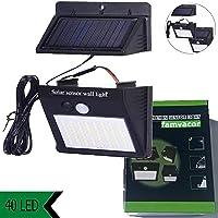 Luz solar exterior con sensor de movimiento y panel solar separado (separable), desmontable, independiente, foco led…