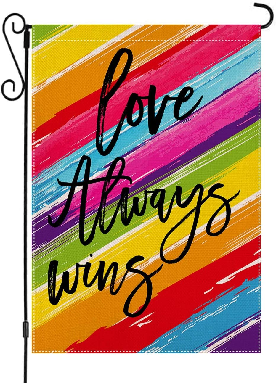 AUOIKK Love Always Wins Garden Flag Rainbow Garden Decoration Vertical Double Sided 12.5 x 18 Inch, Farmhouse Flag Pride Gay Pride Lesbian LGBT Yard Lawn Banner Watercolor Outdoor Decoration