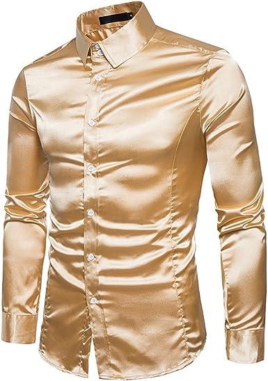 Modaworld Uomo Top - Camisa Casual - para Hombre Dorado XXL: Amazon.es: Ropa y accesorios