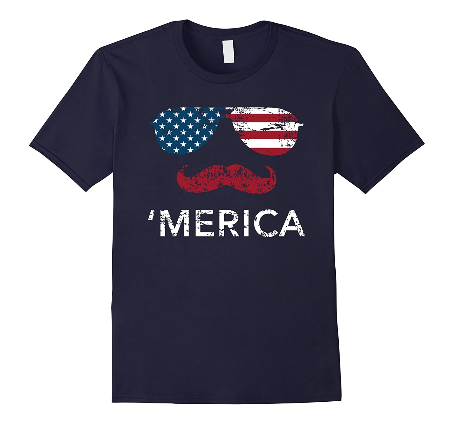 'Merica sunglasses mustache USA Patriotic 4th of July shirt-TH