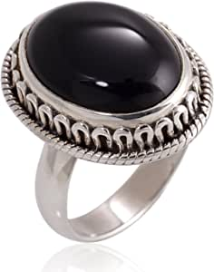 Chuvora 925 Oxidized Sterling Silver Natural Black Onyx Gemstone Oval Rope Edge Vintage Band Ring 6, 7, 8