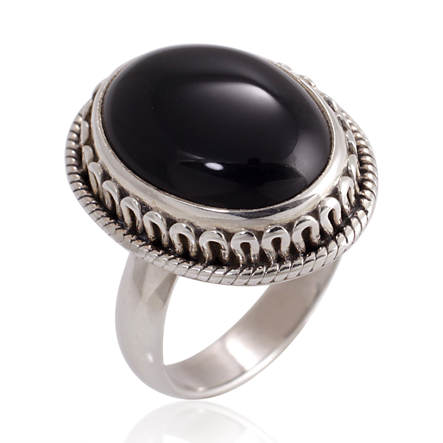 Chuvora 925 Oxidized Sterling Silver Natural Black Onyx Gemstone Oval Rope Edge Vintage Band Ring Size 7