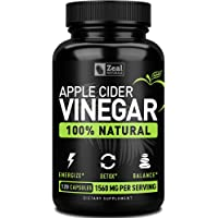 Zeal 100% Natural Raw Apple Cider Vinegar Pills (1560mg | 120 Capsules) Apple Cider...
