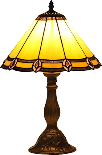 GlassMyth Lighting Tiffany Style Table Lamp Vintage Peacock Feathers Stained Glass Lampshade