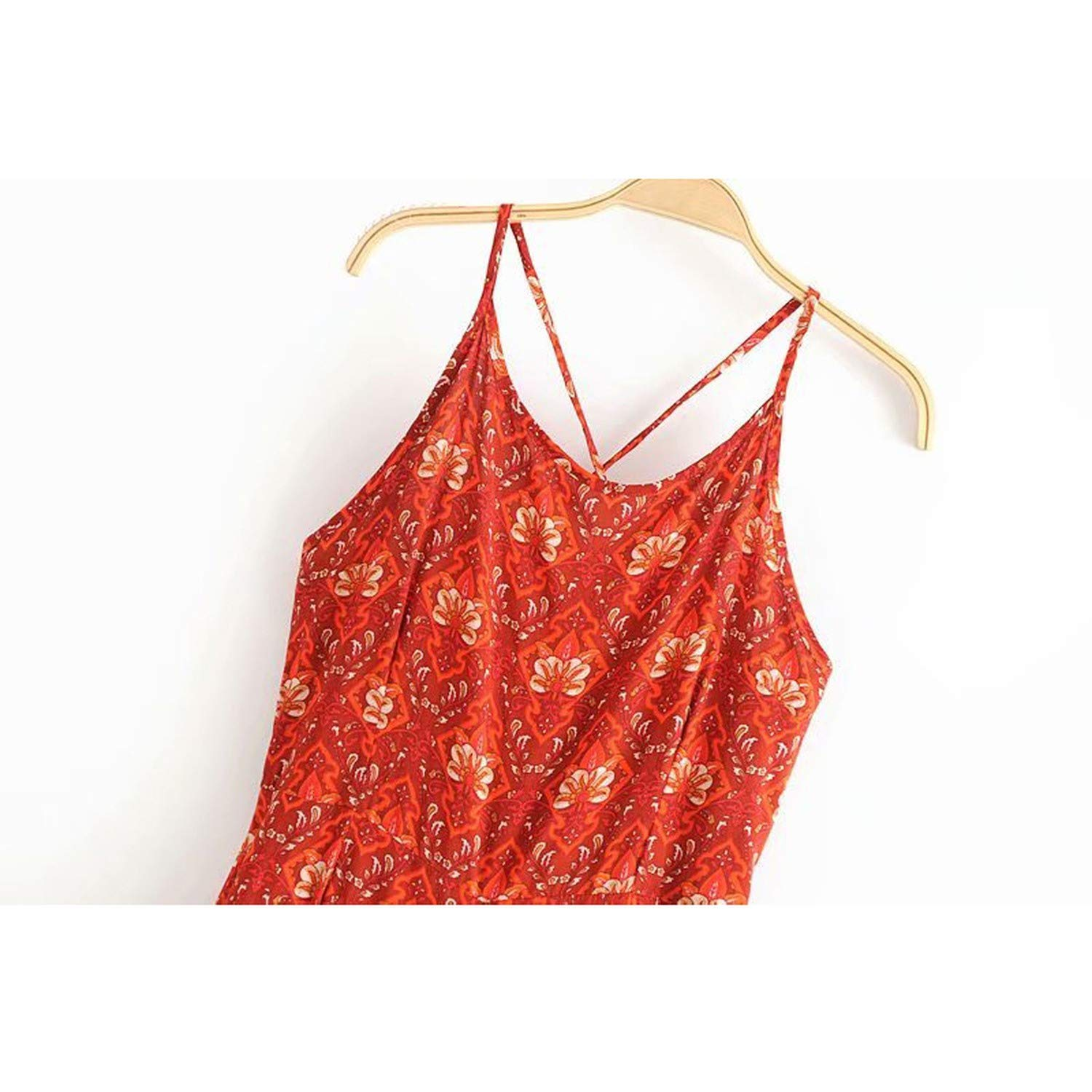 Red Summer Floral Jumpsuit Backless Sleeveless Back Age Jumpsuits Enteritos Mujer Verano