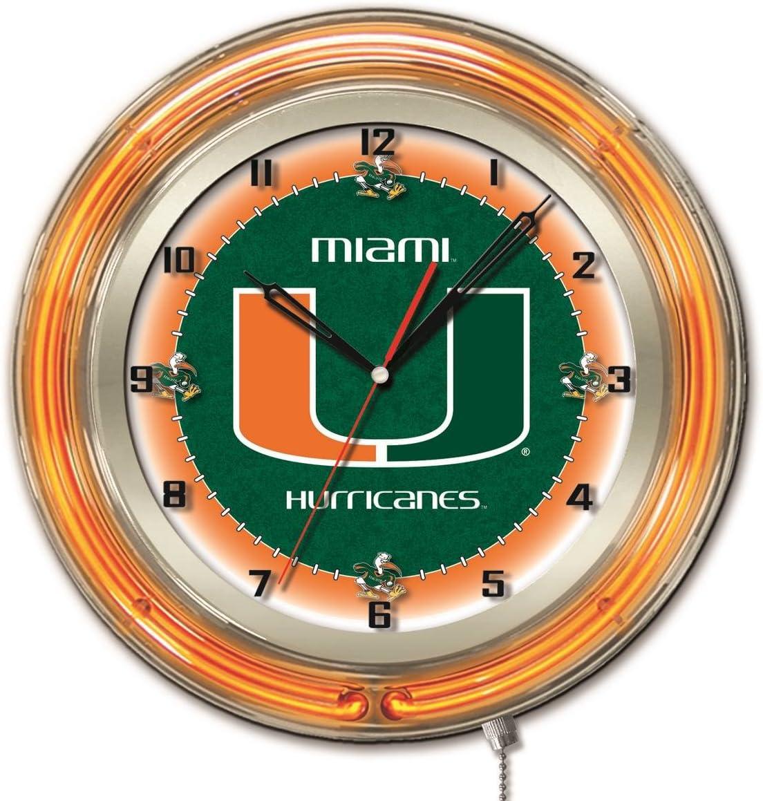 Miami Hurricanes HBS Neon Orange College Battery Powered Wall Clock (19