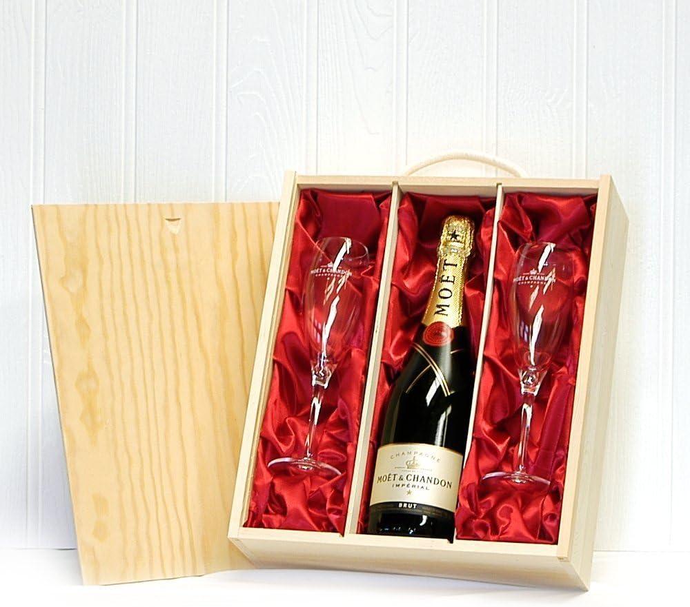 Moët & Chandon 750ml con 2 vasos de champagne Moet en una caja de regalo de madera: Amazon.es: Hogar