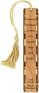 product image for Personalized Alice in Wonderland Quote by Lewis Carroll, Engraved Wooden Bookmark with Tassel - Search B01GQE3NWU for Non-Personalized Version
