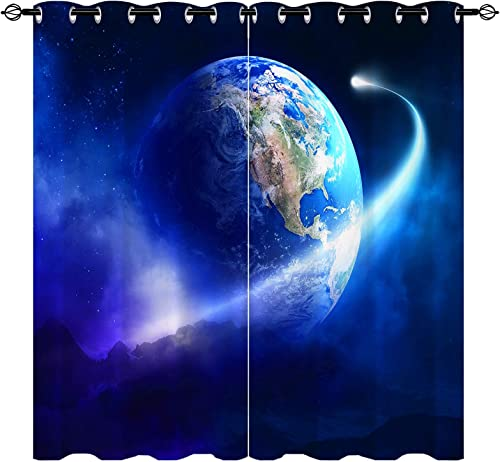 ANHOPE Outer Space Curtains Earth Window Curtain Panels