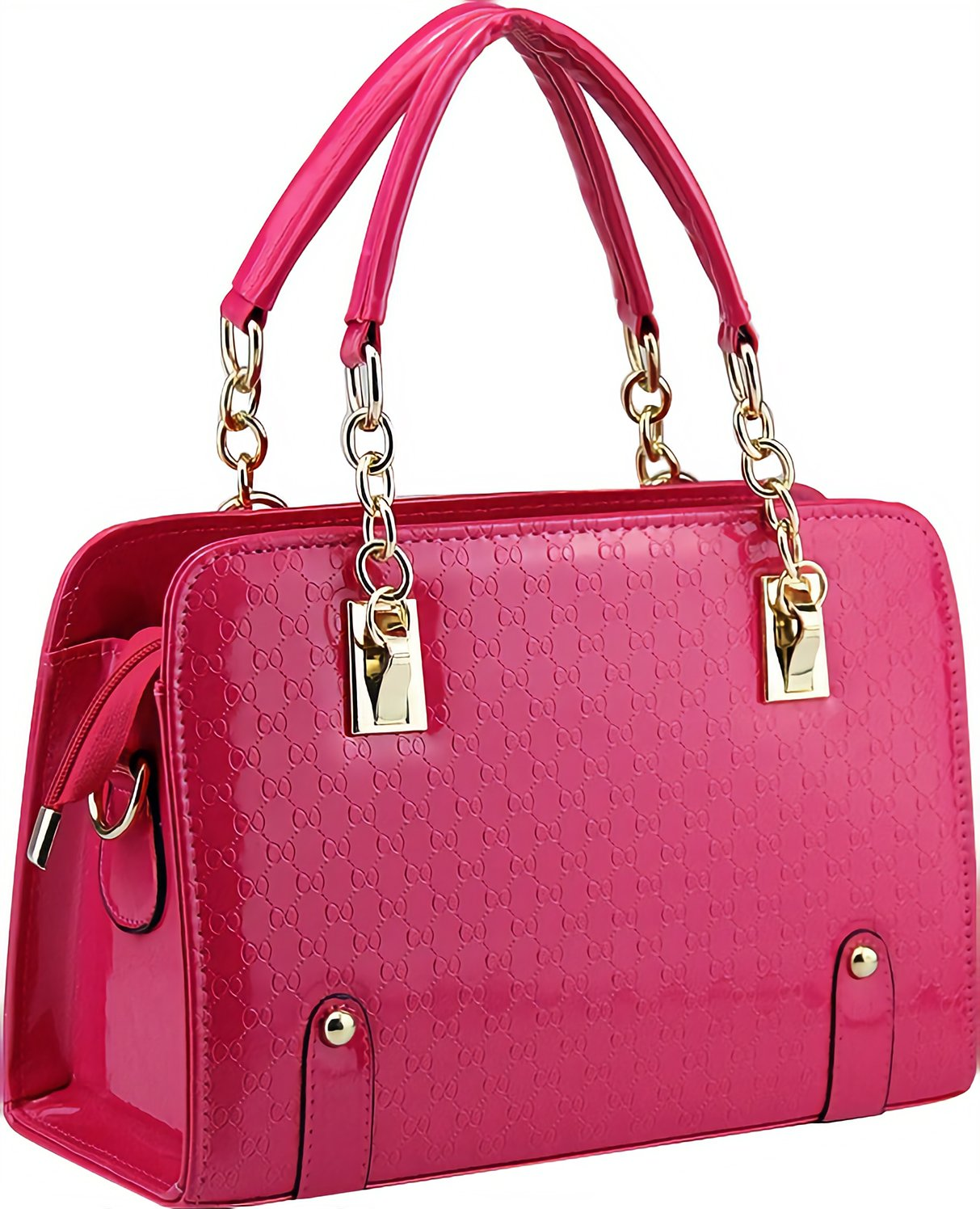 Women Elegant PU Hot Pink Leather Purses and Handbags Tote Bag Top-Handle Satche Ladies Pocketbook