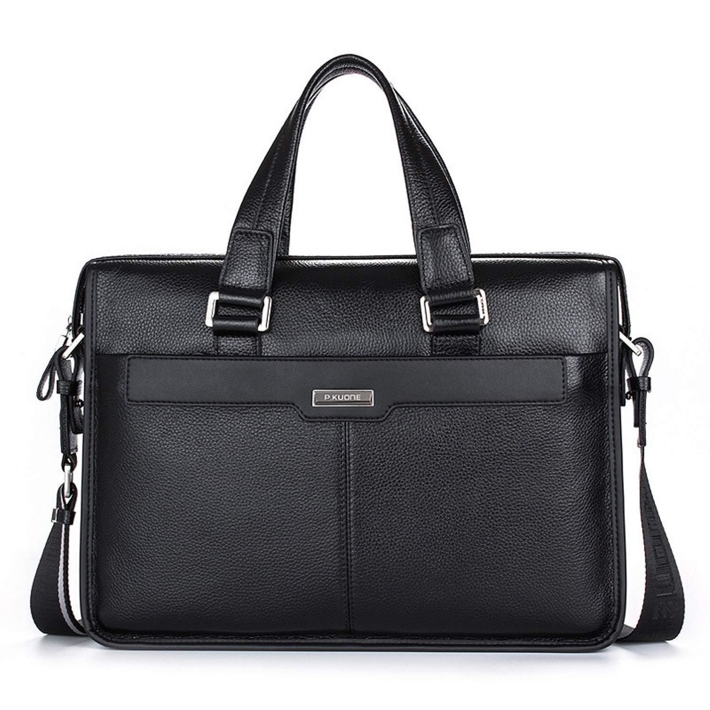 ブランドデザイン 15.6インチ ラップトップバッグ ナチュラルカウスキン メンズビジネスバッグ ブリーフケース ファッション 本革 ショルダーバッグ メッセンジャーバッグ  15.6 Black B07PGV3RSY