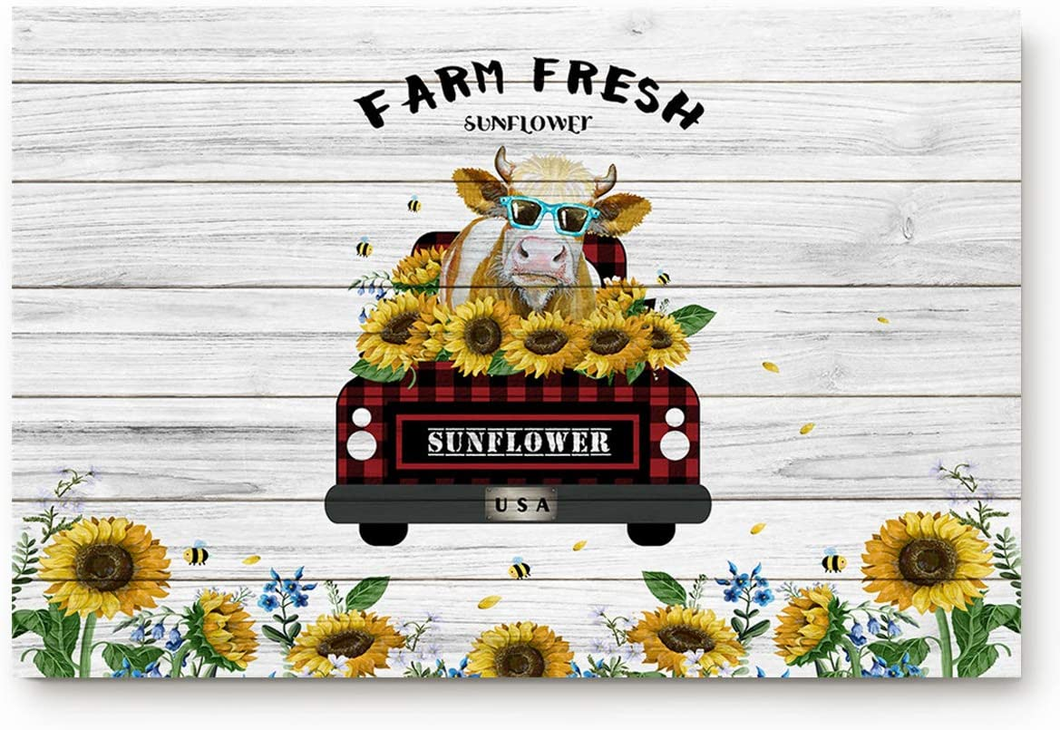 Doormats Entrace Door Rug, Retro Farm Buffalo Check Plaid Truck with Cow Sunflower,Indoor/Bathroom/Kitchen/Bedroom/Entryway Floor Mat Decorative, Non-Slip Low Profile,23.6x15.7 inch