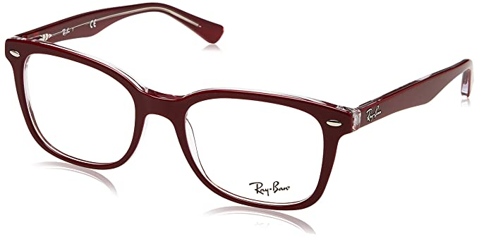 3a7d59c87eb Ray-Ban 0rx5285 No Polarization Square Prescription Eyewear Frame Top  Bordeaux on Transparent 53 mm