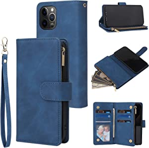 RANYOK Wallet Case Compatible iPhone 12 Pro Max (6.7 inch), Premium PU Leather Zipper Flip Folio Wallet with Wrist Strap Magnetic Closure Built-in Kickstand Protective Case - Blue