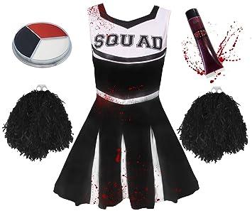 child zombie cheerleader fancy dress costume girls zombie cheerleader costume with pom poms blood sc 1 st amazon uk