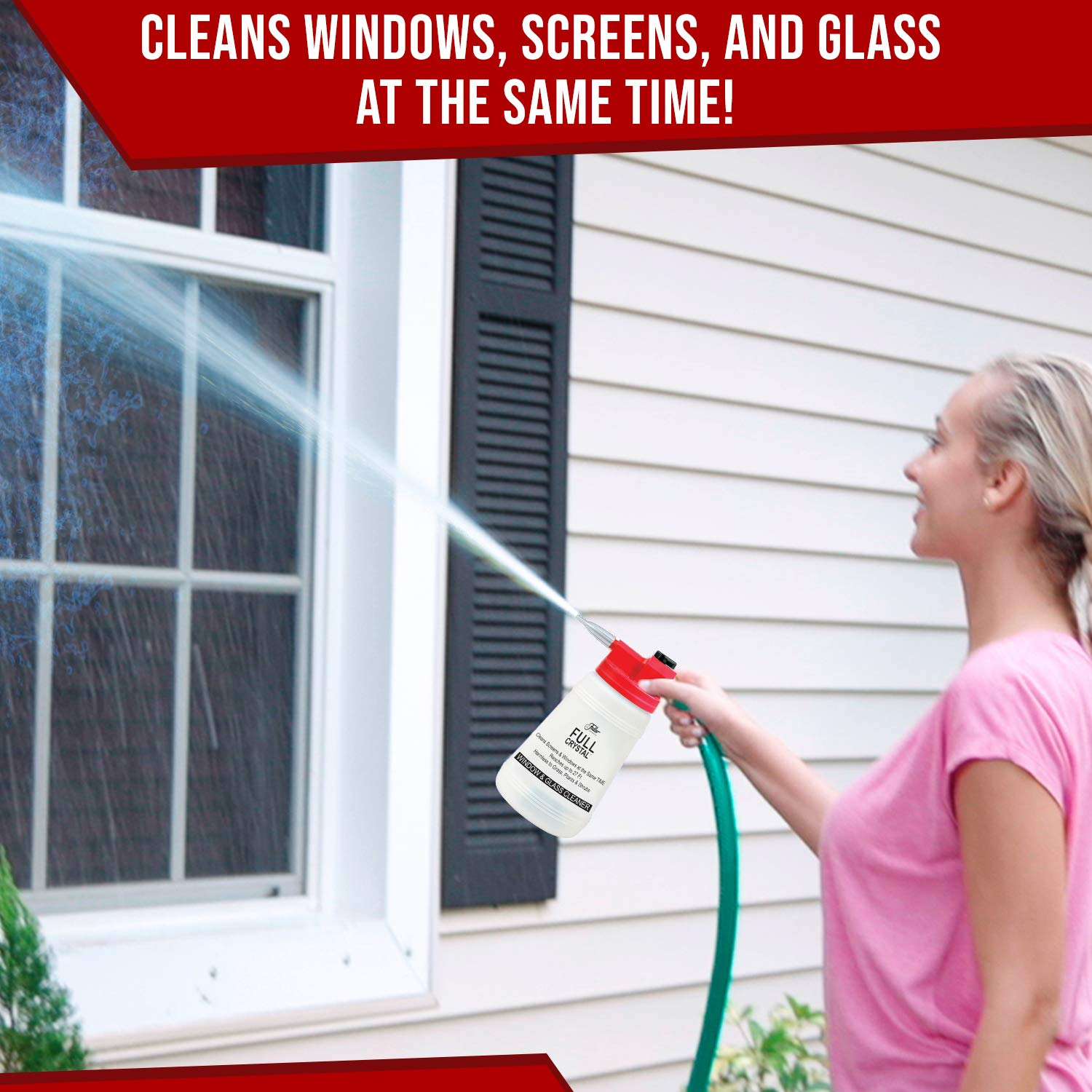 Full Crystal Kit - Bottle, Lid with Hose Attachment, and Two 4 oz. Crystal Powder Exterior Window Cleaner Packets for Glass and Screens (Cleans Up to 40 Windows) by Full Crystal (Image #3)