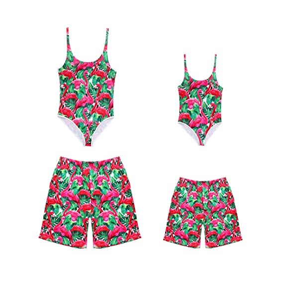 One Piece Family Matching Swimsuit Flamingo Printed Sporty Monokini Bathing Suit