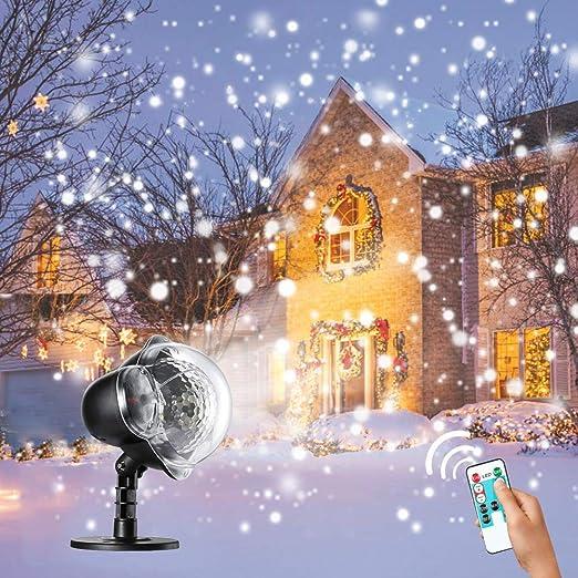 Weihnachtsbeleuchtung Aussen Schneefall.Rehao Weihnachten Projektorlampe Led Schneeflocken Projektor Weihnachtsbeleuchtung Außen Schneefall Projektor Beleuchtung Für Weihnachten Hochzeit