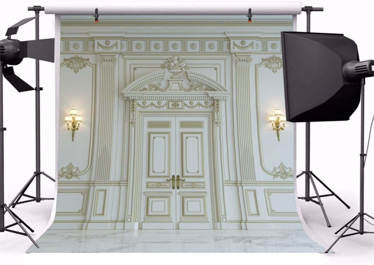 Yeele European Style Wall Backdrop White Wall Panels in Classical Style Background Kids Adult Portrait Room Decoration Wedding Portrait Photo Booth Photoshoot Banner Studio Props 10x10ft