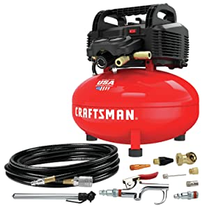 CRAFTSMAN Air Compressor, 6 gallons, Pancake, Oil-Free with 13 Piece Accessory Kit