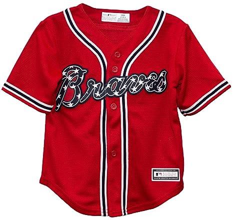 save off ef965 3bb22 Atlanta Braves Alternate Red Cool Base Toddler Jersey