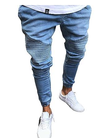 Letuwj - Jeans Básicos Puños Elásticos de Hombre: Amazon.es ...