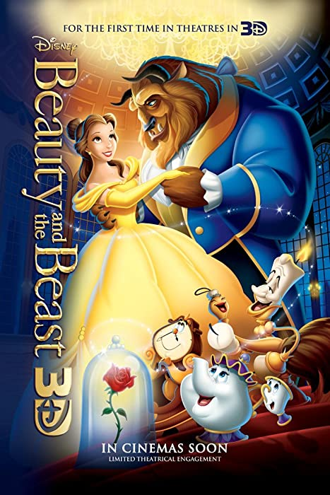BEAUTY AND THE BEAST MOVIE POSTER 2 Sided ORIGINAL 2012 Re-Release 27x40 DISNEY