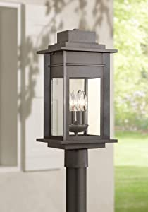 "Bransford Outdoor Post Light Fixture Black Specked Gray 19 1/2"" Clear Glass for Exterior Garden Yard Patio Driveway"