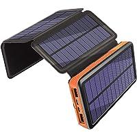 Cargador Solar 25000mAh, Banco de Energía al Aire Libre con 4 Paneles Solares Puerto USB Doble y Luz de Emergencia, 3A Carga Rápida Power bank Portátil a Prueba de Choques para Viajes de Campamento