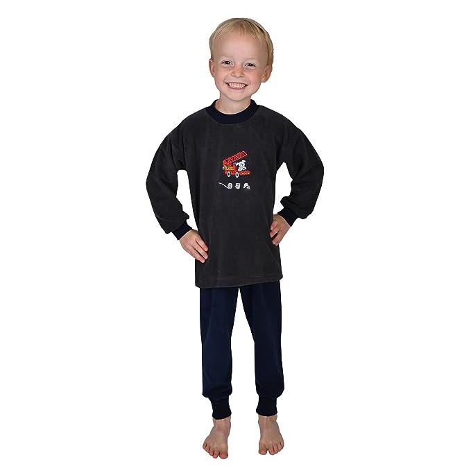 """Wörner – Poncho pijamas 2tlg. Niño """"Bomberos corteza Rizo Interlock de jersey Negro"""