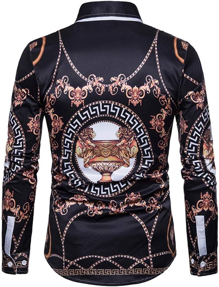 Camisa de vestir slim fit para hombre Camisa psicodélica para hombre, con estampado de salpicaduras y cuello de solapa, camisa de manga larga con botones y botones Para la fiesta de bodas