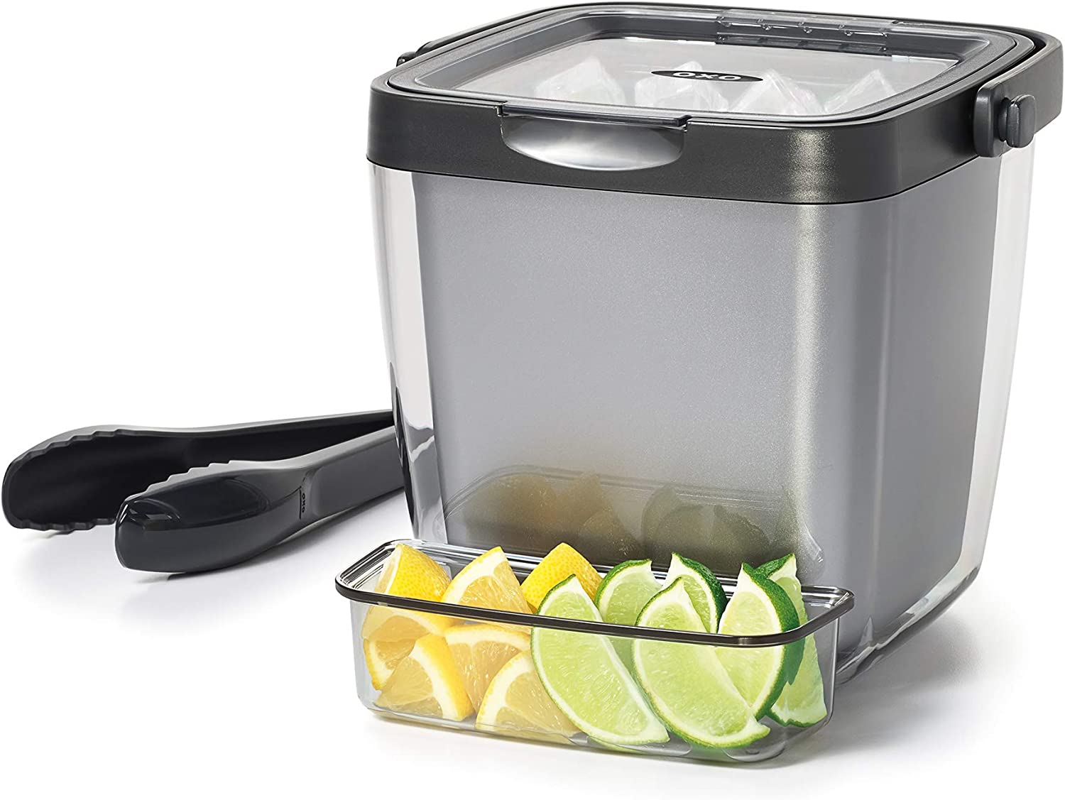 Amazon Com Oxo Good Grips Double Wall Ice Bucket With Tongs And Garnish Tray Gray Home Kitchen
