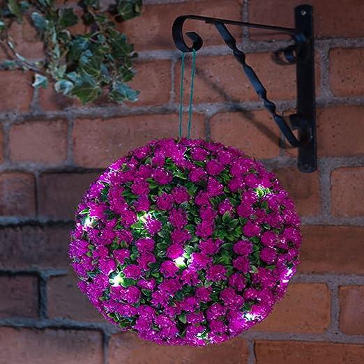 28cm Dual Function Topiary Ball Sphere 20 LED Solar Powered Lights Garden Flower