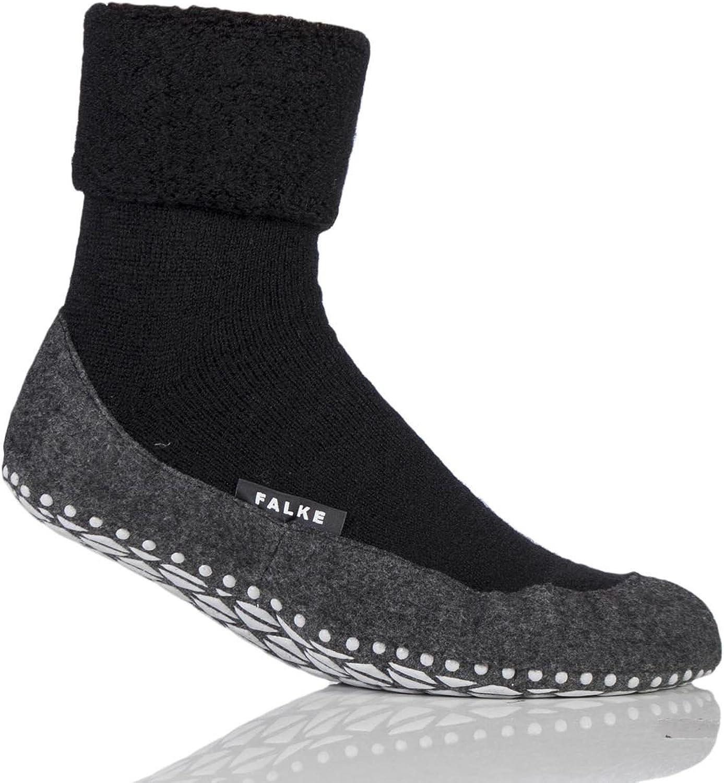 Mens 1 Pair Falke Cosyshoe Virgin Wool Home Socks Black 43-44