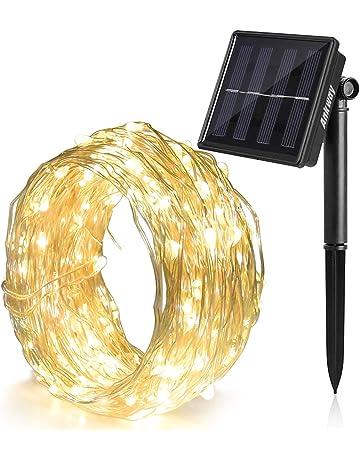 Ankway Cadena Luces Solares 8 Modes 12M 100 LED, Luces led Solar con Alambre de