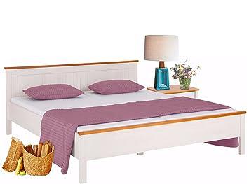 PULLMANN Massivholzbett Holzbett Bett Futonbett Doppelbett Weiß U0026 Honig  Landhaus Stil