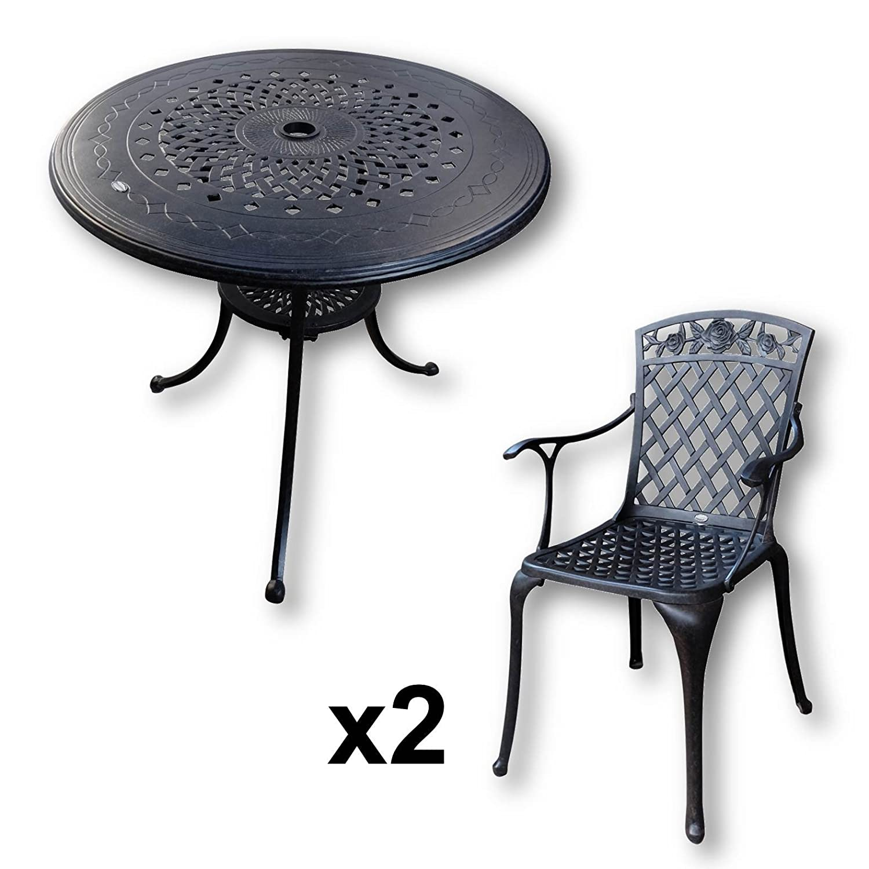 Lazy Susan Anna 80 Cm Runder Gartentisch Mit 2 Stuhlen