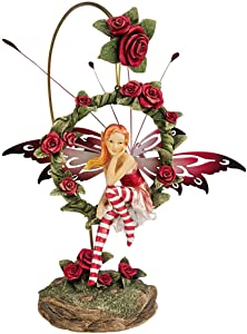 Design Toscano QS232882 Radiant Rose Fairy Dangling Statue with Display Stand, 9 Inch, Polyresin, Full Color