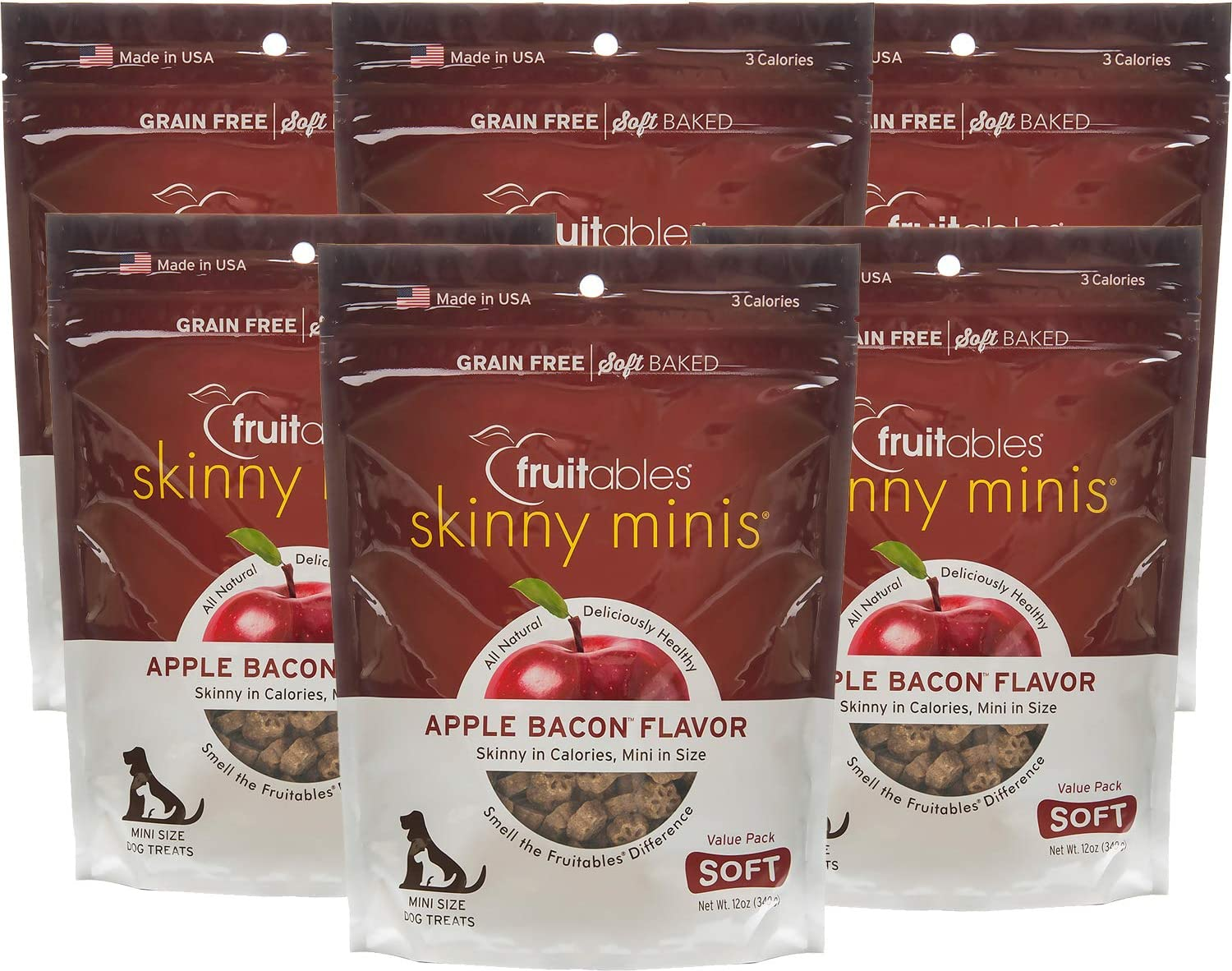 Fruitables Skinny Minis 12 Ounce Apple Bacon Low Calorie Soft and Chewy Training Treat
