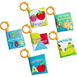 Labebe Babys First Book, 6-Pack Cloth Educational Book for Baby Aged 3-24 Month, Baby Boy Book/Baby Book Girl/Alphabet Book/Toy Book/Children Activity Book/Baby Book Set/Toddler Book Set/Jungle Book