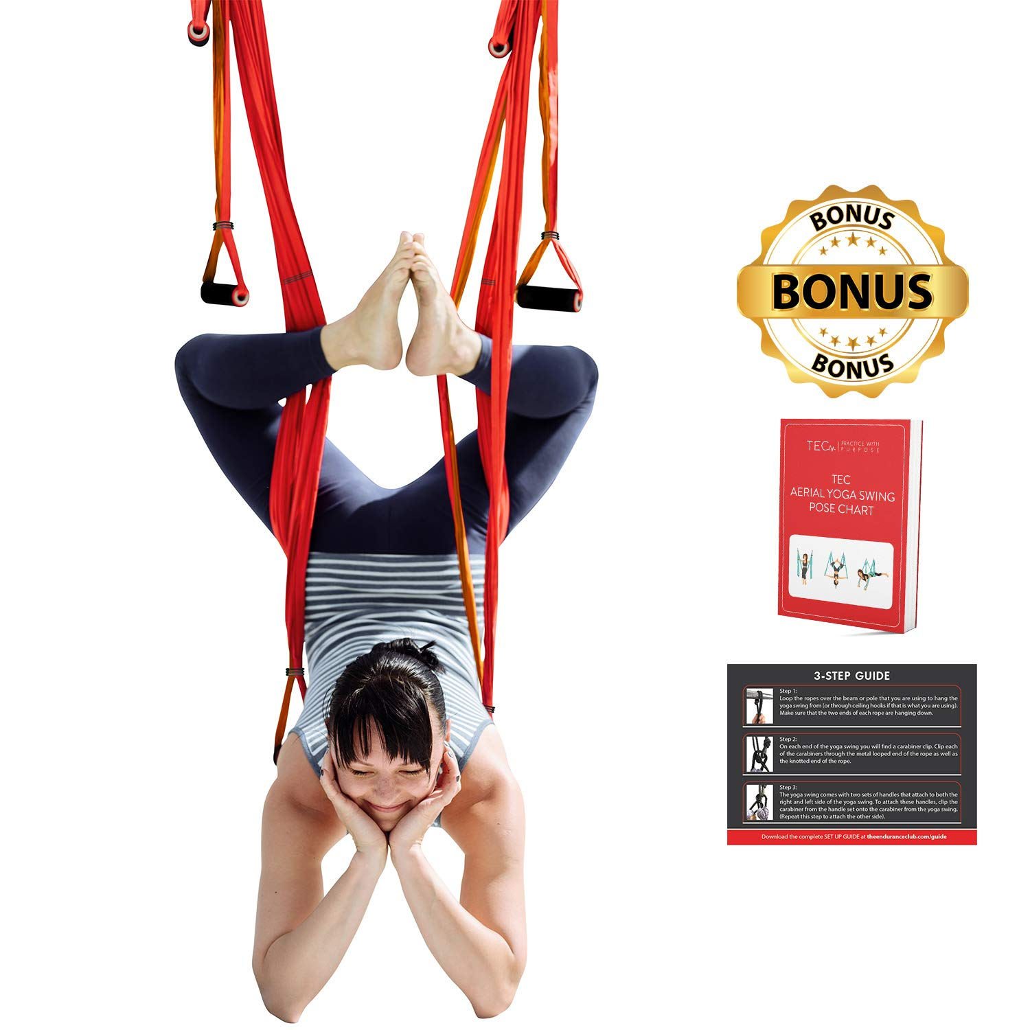 TEC Aerial Yoga Swing - Ultra Strong Trapeze for Inversion Stretches & Exercises; Increases Strength, Flexibility, and Relieves Back Pain; Includes ...