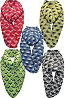 Chevron Print Infinity Fashion Scarf 5-Pack Wholesale Lot