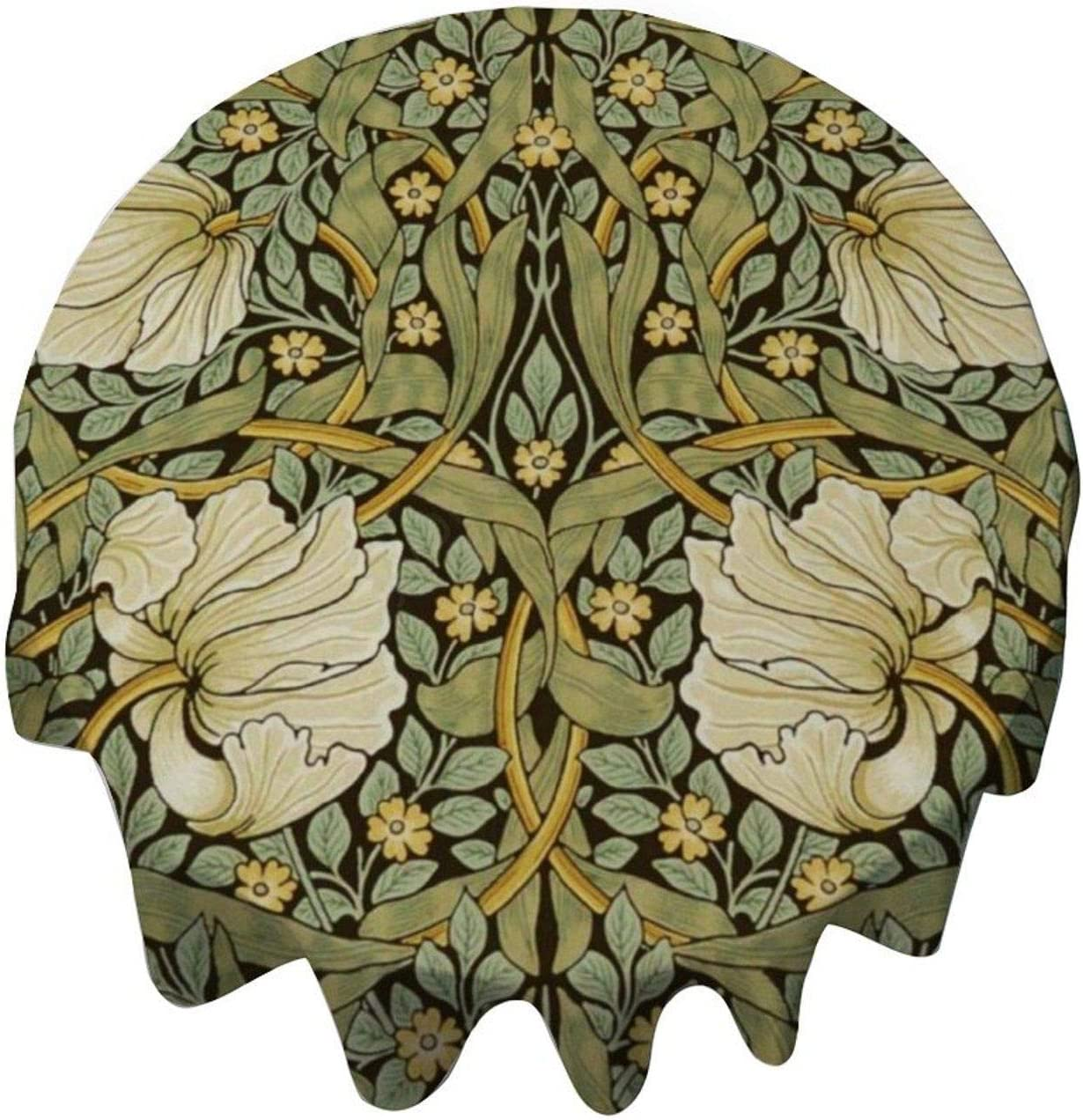 Tablecloth Round 54 Inch Table Cover William Morris Pimpernel Vintage Pre-Raphaelite Table Cloth Decor for Buffet Table, Parties, Holiday Dinner, Wedding & More