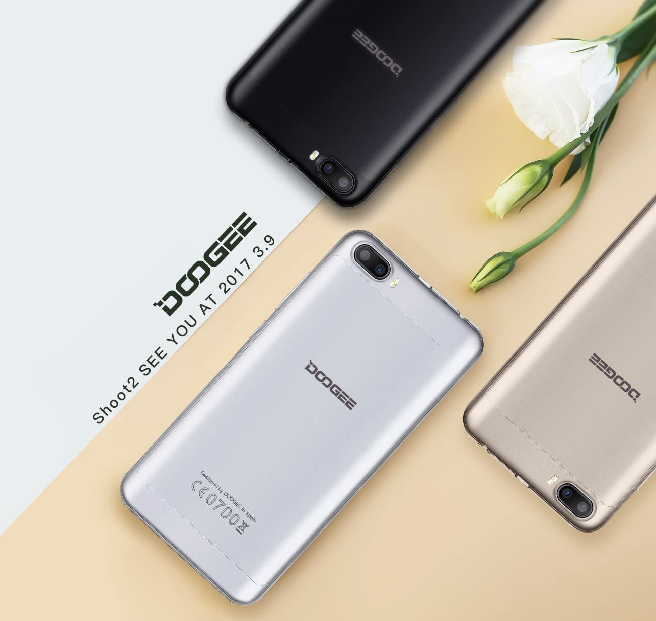DOOGEE Shoot 2 5.0 pulgadas Android 7.0 Smartphone MT6580A Quad Core 1 GB de RAM 8 GB de ROM 5.0 HD 2.5D Dual SIM 3300mAh de huellas dactilares Smartphone (Plata): Amazon.es: Electrónica