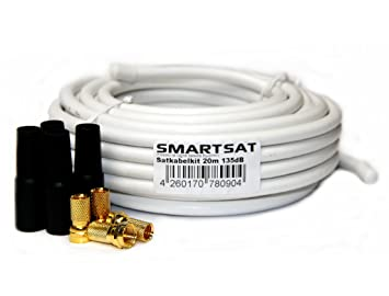 Smartsat SATKK135 - Cable coaxial (20 m, 135 dB, Full HD),